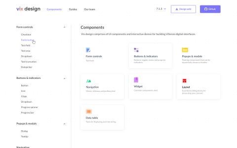 Vix Design System Website